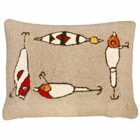 Fishing Rod and Lures Hooked Wool Pillow