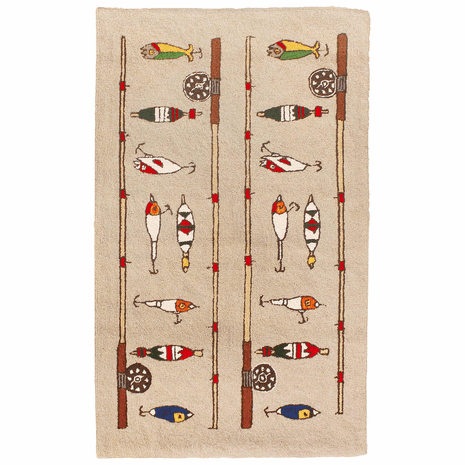 Fishing Rod and Lures Rug - 4 x 6