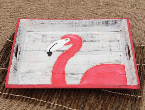 Flamingo Carved Wood Tray