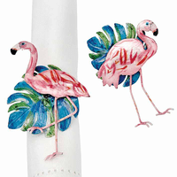 Flamingo Frond Napkin Rings - Set of 6
