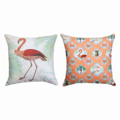 Flamingo Island Reversible Pillow