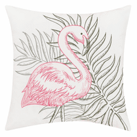 Flamingo Palm Leaf Indoor/Outdoor Embroidered Pillow