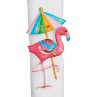 Flamingo Parasol Napkin Rings - Set of 6