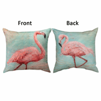 Flamingo Reflections Reversible Indoor/Outdoor Pillow
