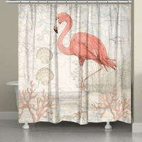 Flamingo Shells Shower Curtain