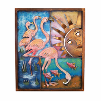 Flamingos Sun Metal Panel