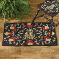 Floral Pineapple Hooked Rug
