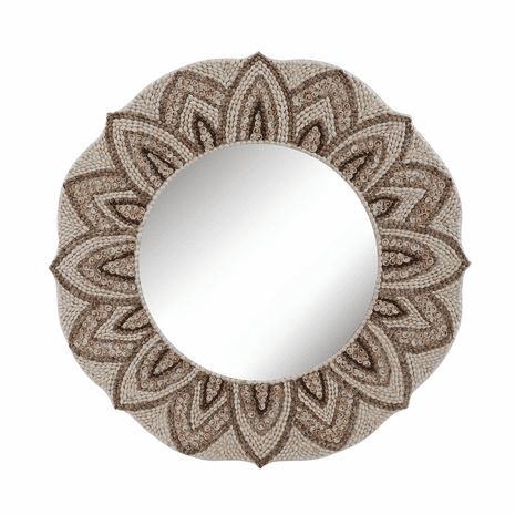 Floral Round Shell Mirror