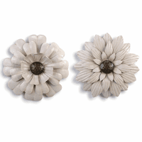 Flower Wall Sculptures - Set of 2