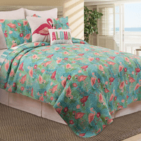 Flowers & Flamingos Quilt Set - Full/Queen