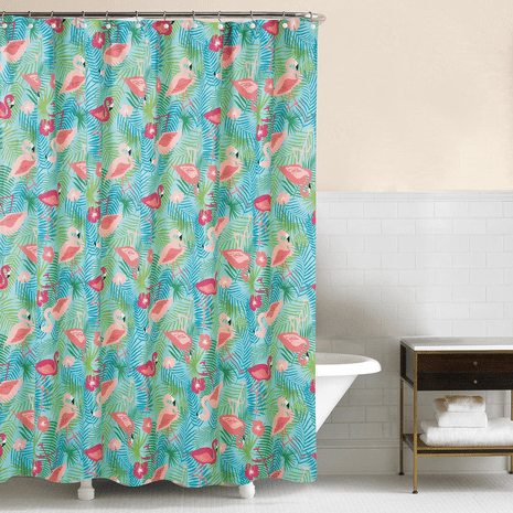 Flowers & Flamingos Shower Curtain