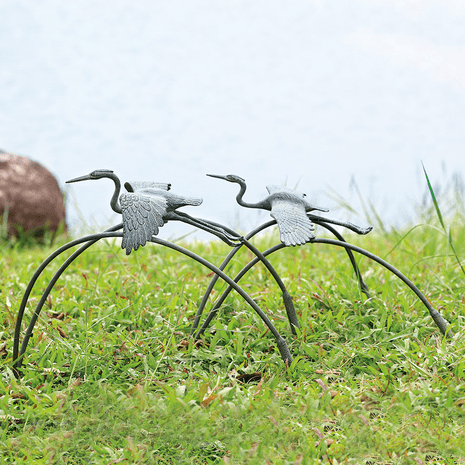 Flying Cranes Statuary - Set of 2