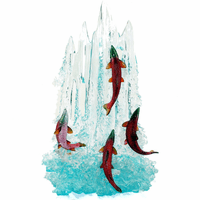 Four Red Salmon Upstream Figurine