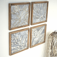 Framed Coastal Textured Tiles - Set of 4
