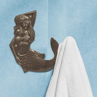 French Bronze Mermaid Towel Hook - Right Facing