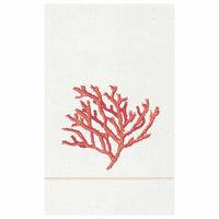French Knot Coral Guest Towels - Set of 6
