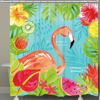 Fruit & Flamingos Shower Curtain