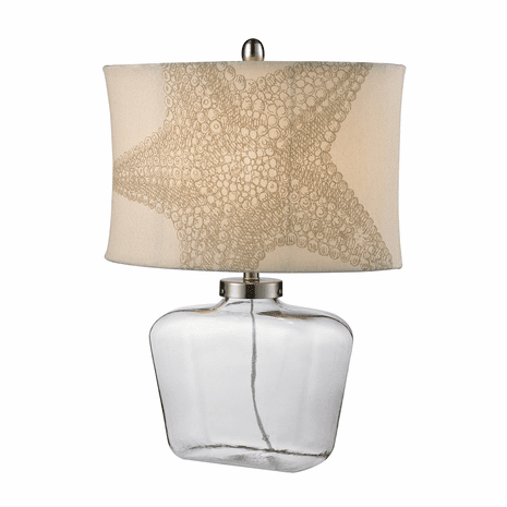 Glass Bottle Table Lamp with Starfish Shade