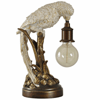 Gold and White Parrot Lamp