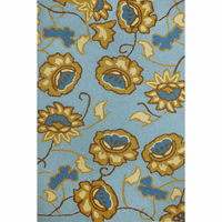 Gold & Blue Floral Indoor/Outdoor Rug Collection