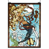 Gold & Chestnut Mermaid Stained Glass Window