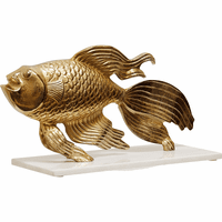 Gold Fish Statue on Marble Base