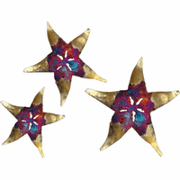 Gold & Multicolor Starfish Metal Wall Art - Set of 3