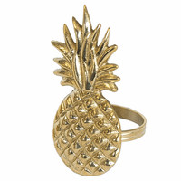 Golden Pineapple Napkin Rings - Set of 6
