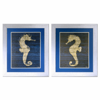 Golden Pony Seahorse Framed Prints - Set of 2