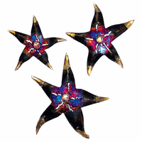 Golden Tipped Starfish Metal Wall Art - Set of 3