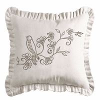 Gramercy White Linen Weave Ruffled Embroidered Pillow