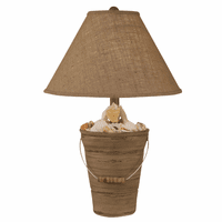 Gray Bucket of Shells Table Lamp with Burlap Shade