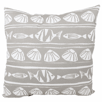 Gray Fish and Shells Indoor/Outdoor Pillow
