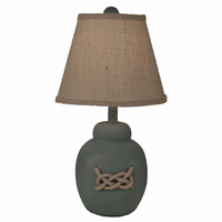 Gray Pot Table Lamp with White Rope