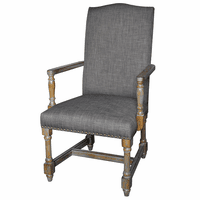 Grayson Rustic Wood and Gray Linen Arm Chair