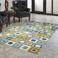 Green and Blue Squares Indoor/Outdoor Rug Collection
