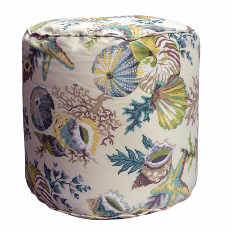 Green Coral Indoor/Outdoor Round Pouf