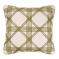 Green Lattice Tuft Pillow