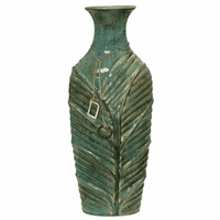 Green Leaf Ceramic Vase - Tall
