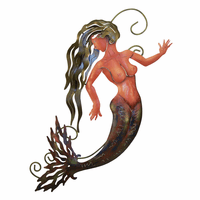 Green Mermaid Metal Wall Art - Left Facing