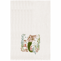 Green Mermaid on White Waffle Weave Kitchen Towels - Set of 6