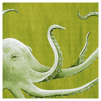 Green Sea Octopus Canvas Art
