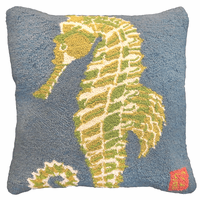 Green Seahorse Hooked Wool Pillow