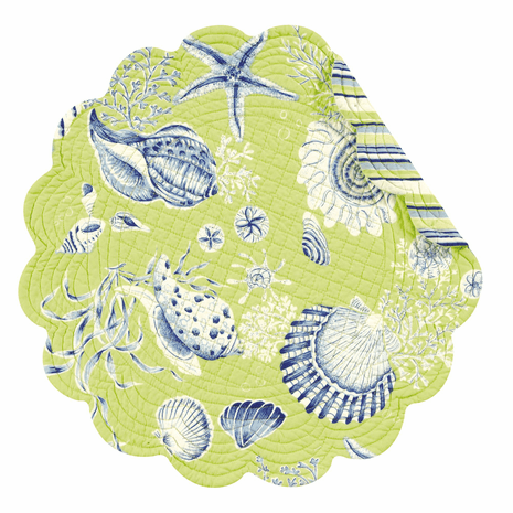 Green Seashells Round Placemats - Set of 12