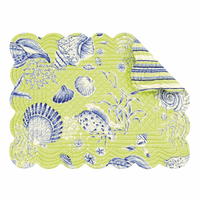 Green Seashells Scalloped Placemats - Set of 12