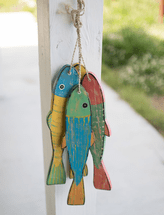 Painted Wood Fish - Set of 4