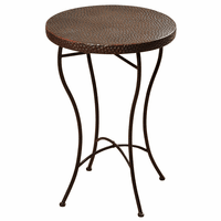 Hammered Copper Top Round Accent Table