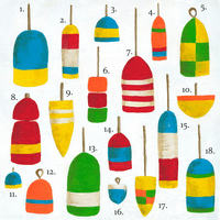 Hampton Buoys Canvas Wall Art - 39 x 39