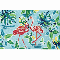 Happy Flamingos Hooked Rug