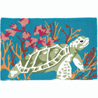 Happy Turtle Hooked Rug